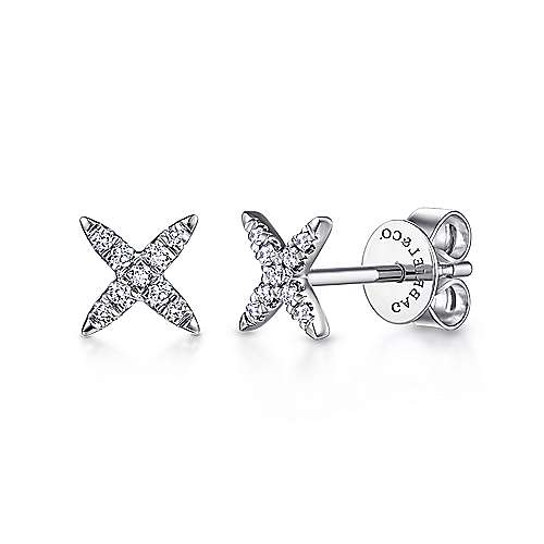 14K White Gold Diamond X Shaped Stud Earrings