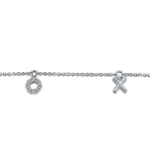 14K White Gold Diamond XOXO Bracelet