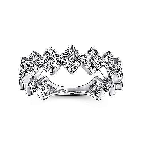 14K White Gold Diamond Zig Zag Stackable Ring