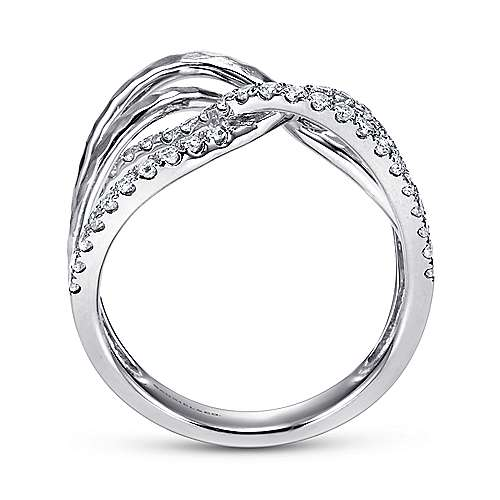 14K White Gold Diamond and Hammered Metal Criss Cross Ring