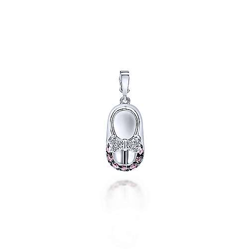 14K White Gold Diamond and Pink Sapphire Baby Shoe Charm Pendant