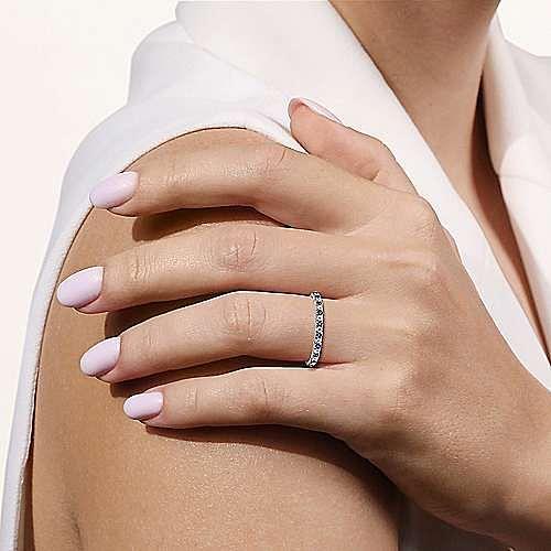 14K White Gold Diamond and Sapphire Anniversary Band
