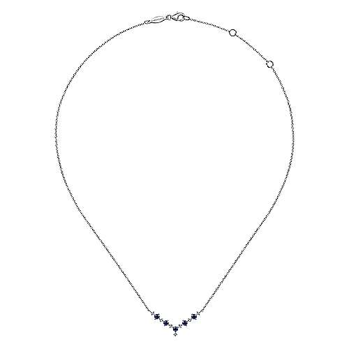 14K White Gold Diamond and Sapphire Curved Bar Necklace