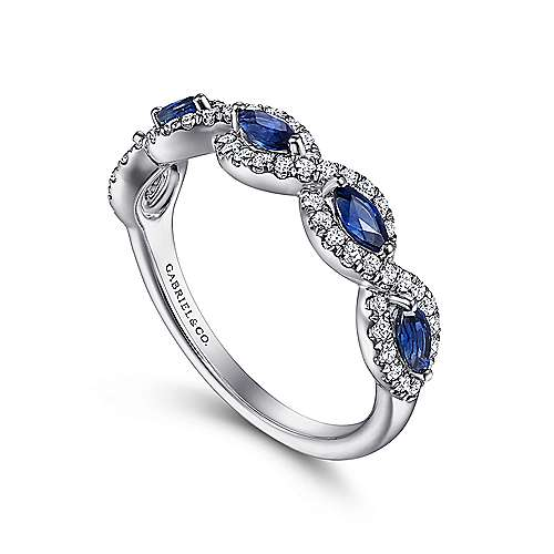 14K White Gold Diamond and Sapphire Twisted Ring