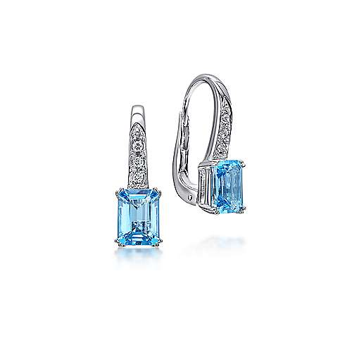14K White Gold Diamond and Swiss Blue Topaz Drop Earrings