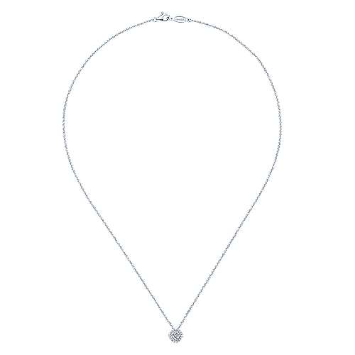 14K White Gold Diamond pave Cushion Pendant Necklace