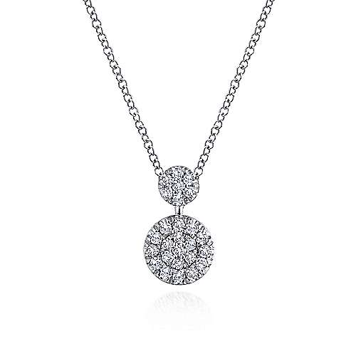 14K White Gold Double Diamond Disc Pendant Necklace