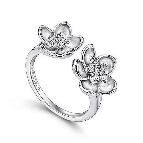 14K White Gold Double Open Floral Diamond Ring