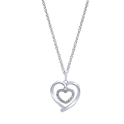 14K White Gold Double Open Heart Diamond Necklace