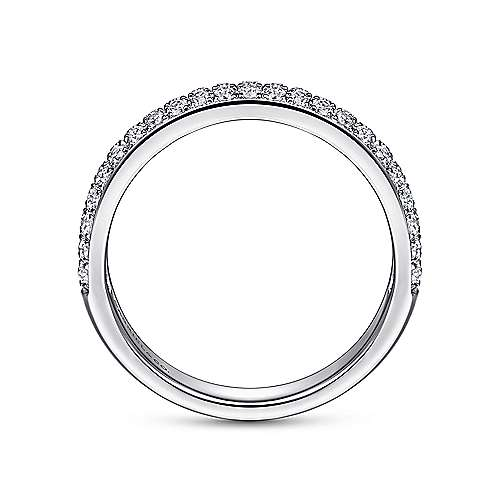14K White Gold Double Rows Contemporary Micro Pavé  Straight Diamond Band