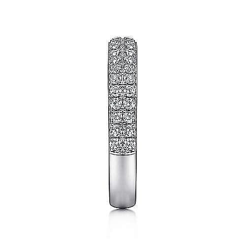 14K White Gold Double Rows Contemporary Micro Pavé  Straight Diamond Band