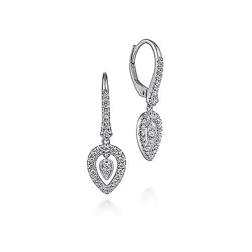 14K White Gold Double Teardrop Leverback Diamond Earrings