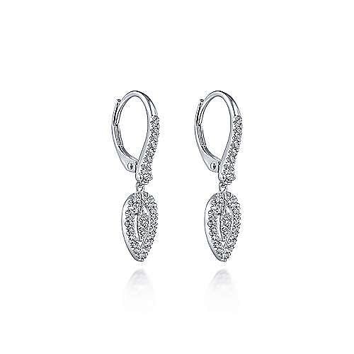 14K White Gold Double Teardrop Leverback Diamond Earrings