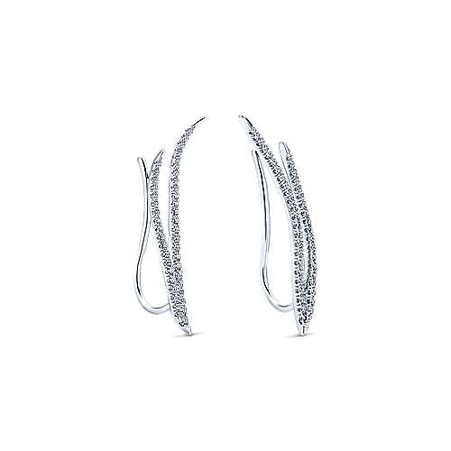 14K White Gold Dual Strand Diamond Ear Climber Earrings