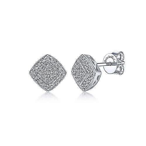 14K White Gold Earrings Cushion Shape Diamond Pavé Stud Earrings