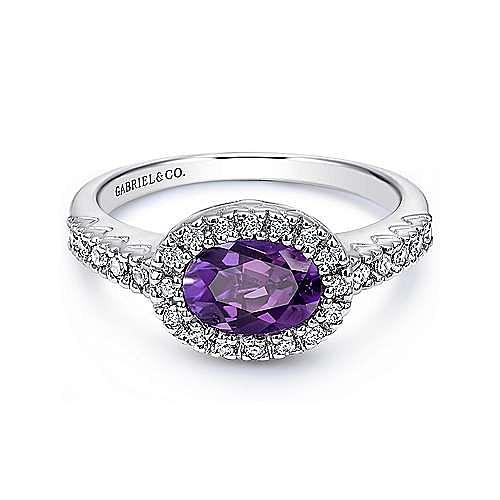 14K White Gold East-West Set Oval Amethyst & Diamond Halo Fashion Ring