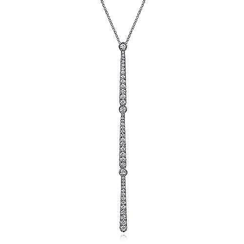 14K White Gold Elongated Diamond Bar Lariat Necklace