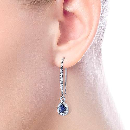 14K White Gold Elongated Diamond and Pear Shaped Sapphire Drop Earrings