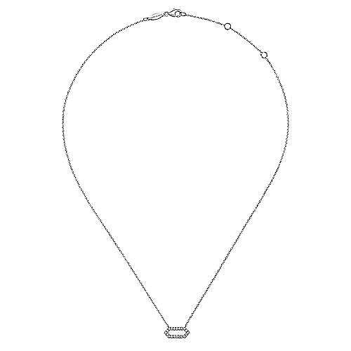 14K White Gold Elongated Hexagonal Diamond Pendant Necklace