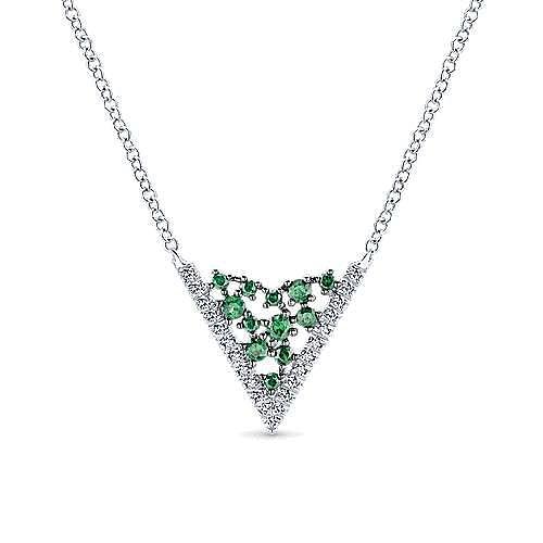 14K White Gold Elongated Hexagonal Diamond and Emerald Pendant Necklace