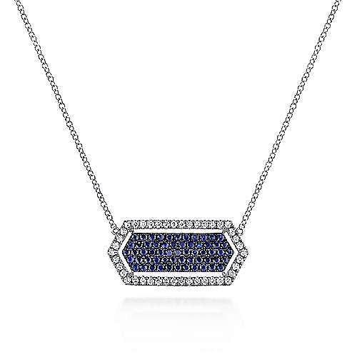 14K White Gold Elongated Hexagonal Diamond and Sapphire Pendant Necklace