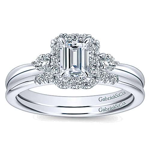 14K White Gold Emerald Cut Complete Diamond Engagement Ring