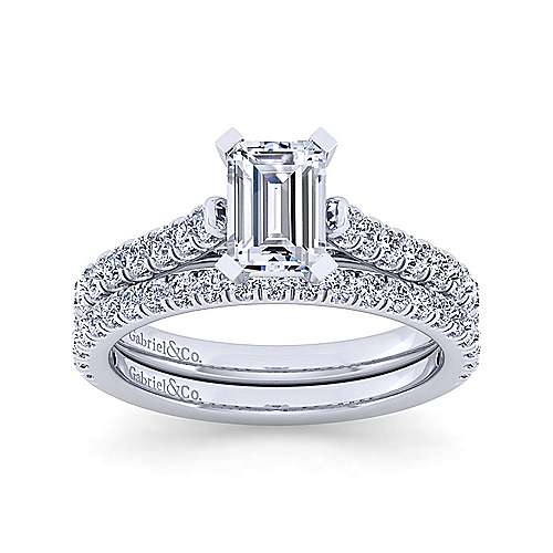 14K White Gold Emerald Cut Diamond Engagement Ring