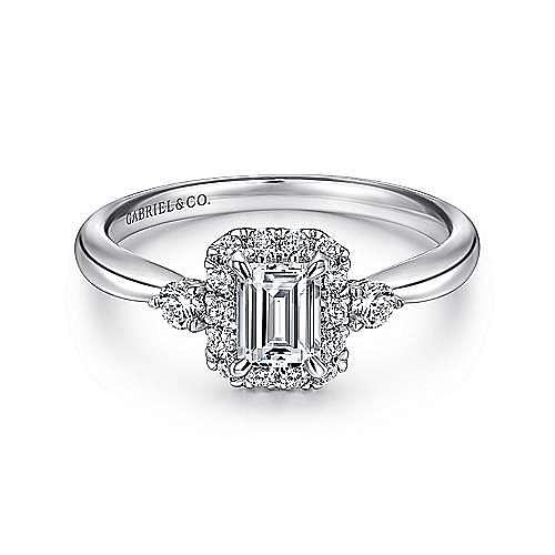 14K White Gold Emerald Cut Diamond Engagement Ring