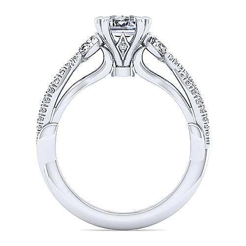 14K White Gold Emerald Cut Three Stone Diamond Engagement Ring