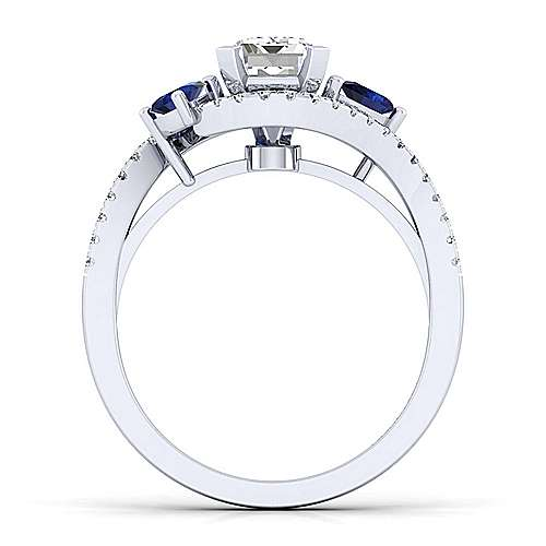14K White Gold Emerald Cut Three Stone Sapphire and Diamond Engagement Ring