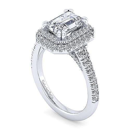 14K White Gold Emerald Double Halo Diamond Engagement Ring