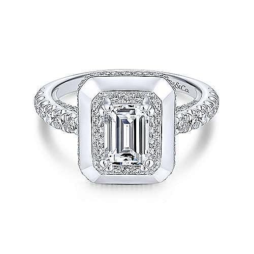 14K White Gold Emerald Halo Diamond Engagement Ring ... - photo#7