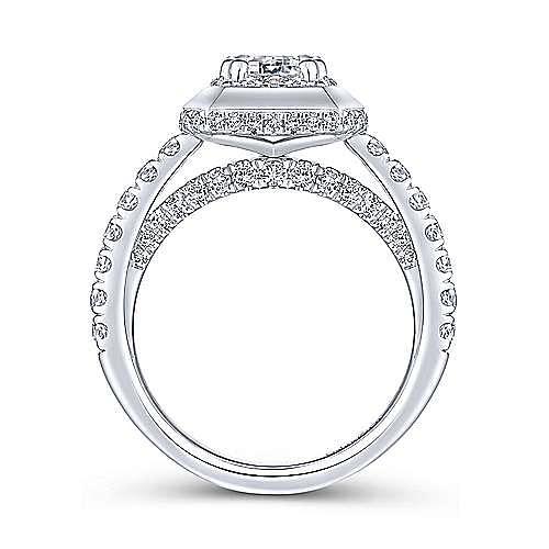 14K White Gold Emerald Halo Diamond Engagement Ring ... - photo#8