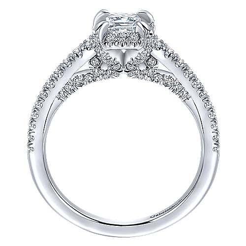 14K White Gold Emerald Halo Diamond Engagement Ring
