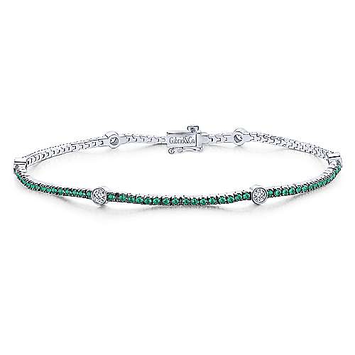 14K White Gold Emerald Tennis Bracelet with Round Diamond Stations