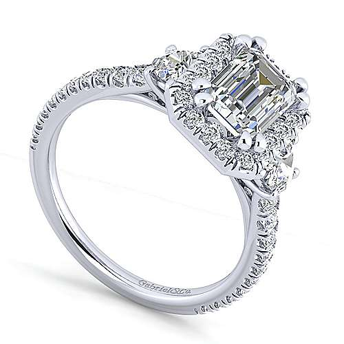 14K White Gold Emerald Three Stone Halo Diamond Engagement Ring