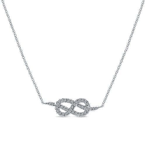 14K White Gold Eternal Love Infinity Pendant Necklace