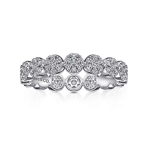14K White Gold Eternity Diamond Disc Stackable Ring