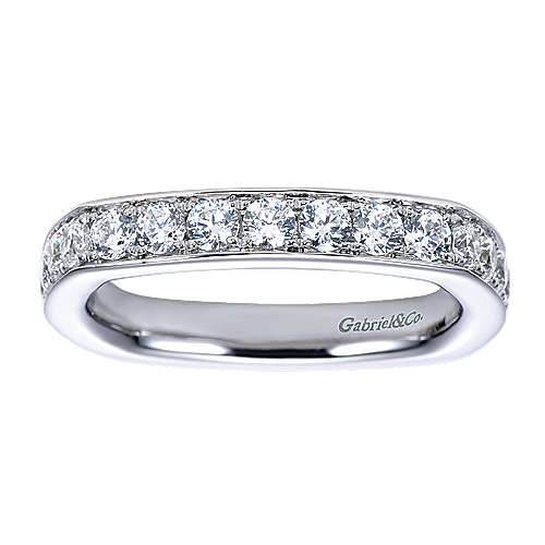 14K White Gold Eurofit Channel Prong Diamond Wedding Band