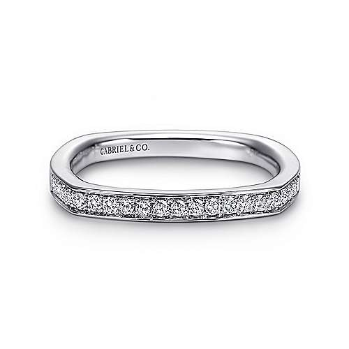 14K White Gold Eurofit Channel Prong Diamond Wedding Band