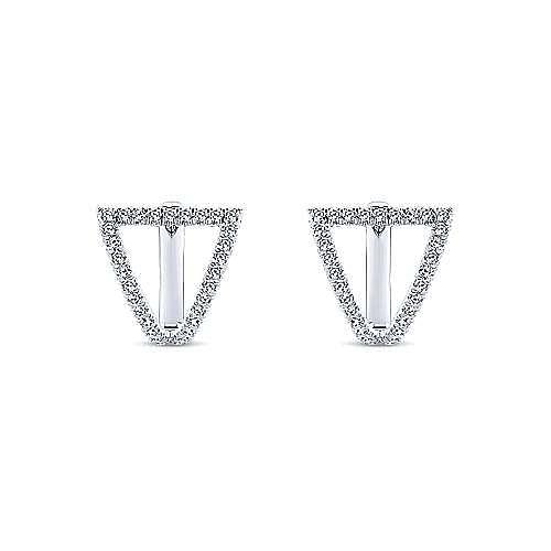 14K White Gold Fan 10mm Diamond Huggie Earrings