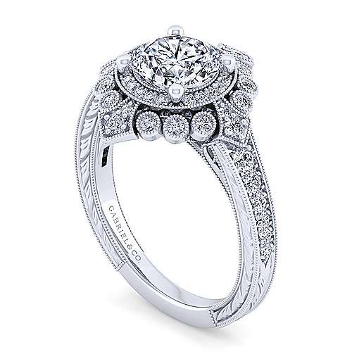 14K White Gold Fancy Halo Diamond Engagement Ring