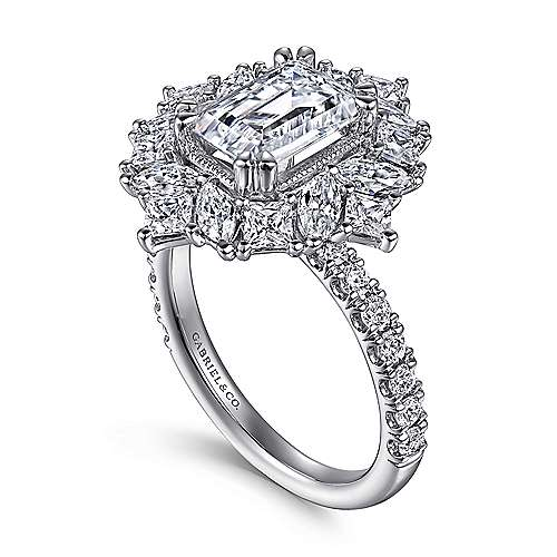 14K White Gold Fancy Halo Emerald Cut Diamond Engagement Ring