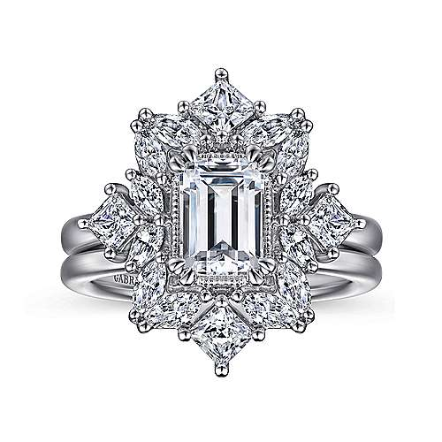 14K White Gold Fancy Halo Emerald Cut Diamond Engagement Ring