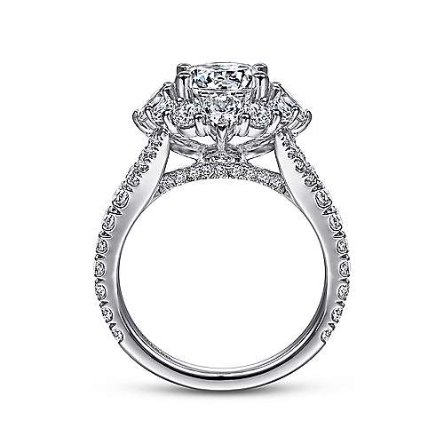14K White Gold Fancy Halo Round Diamond Engagement Ring