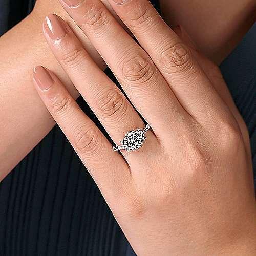 14K White Gold Fancy Halo Round Diamond Engagement Ring