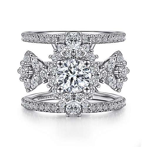 14K White Gold Fancy Three Stone Halo Round Diamond Engagement Ring