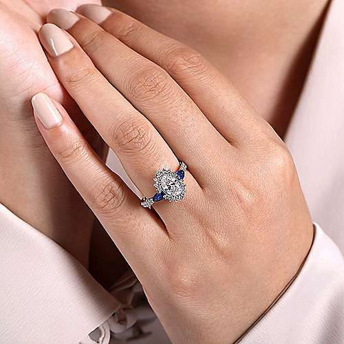 14K White Gold Fancy Three Stone Halo Sapphire and Diamond Engagement Ring