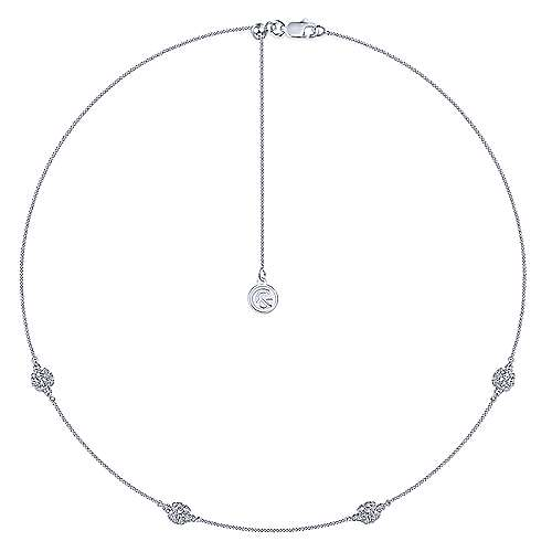14K White Gold Filigree Diamond Station Necklace