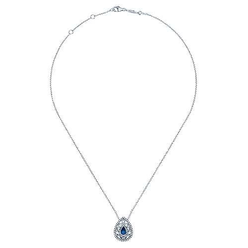 14K White Gold Filigree Teardrop Pendant Necklace with Sapphire and Diamonds